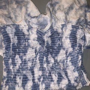 Hollister Tops - Tie Dye Smocked Ruffle Tube Top